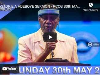RCCG Sunday Live Service May 30 2021 With Pastor Adeboye