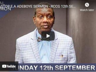 RCCG Sunday Live Service September 12 2021