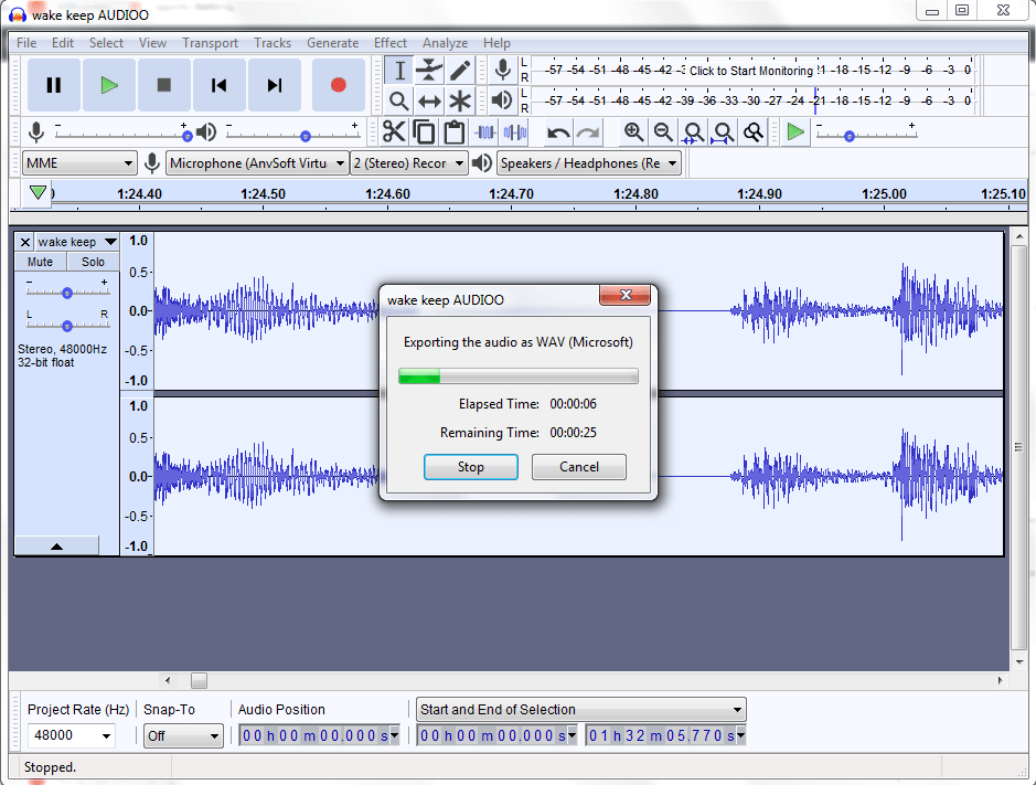 exporting noise reduction progress