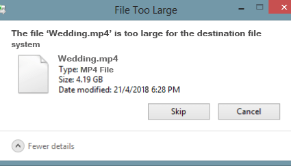 copy files, file too large