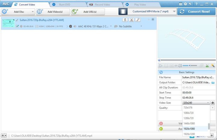 Converter now ready after import, convert video into mp4
