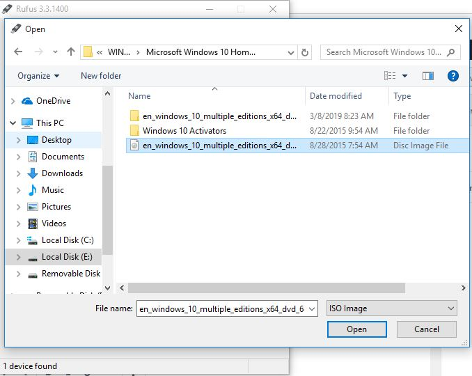 select your bootable image file