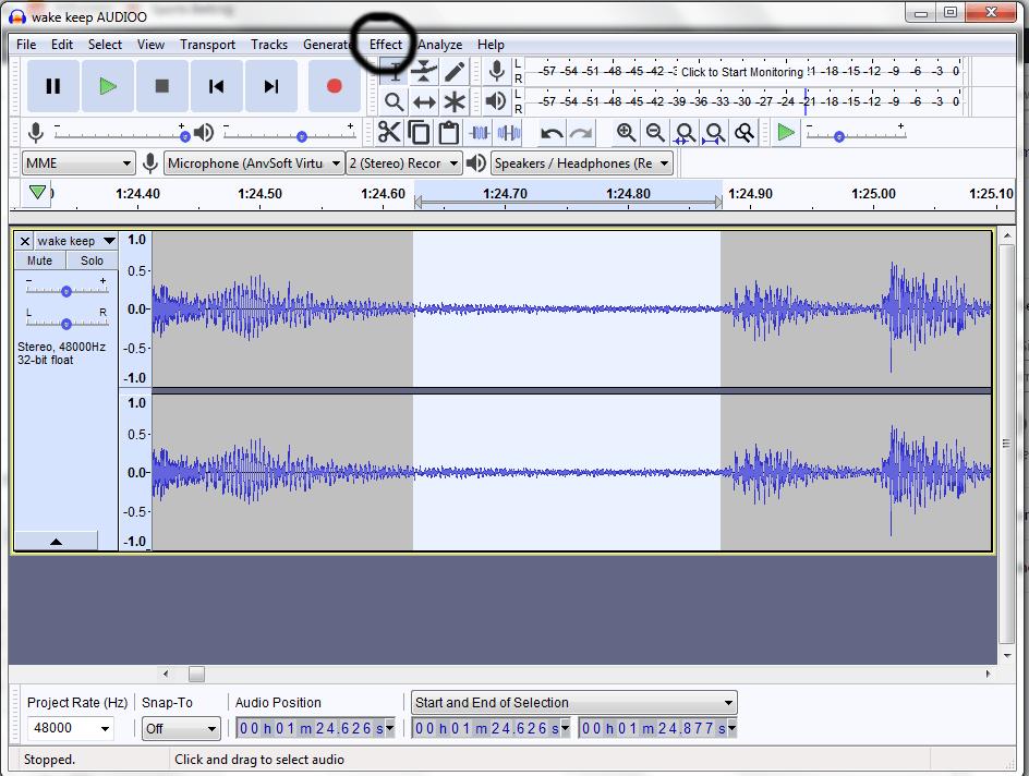 sample noise on the timeline