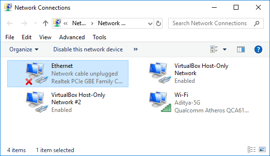 ethernet not working windows 10