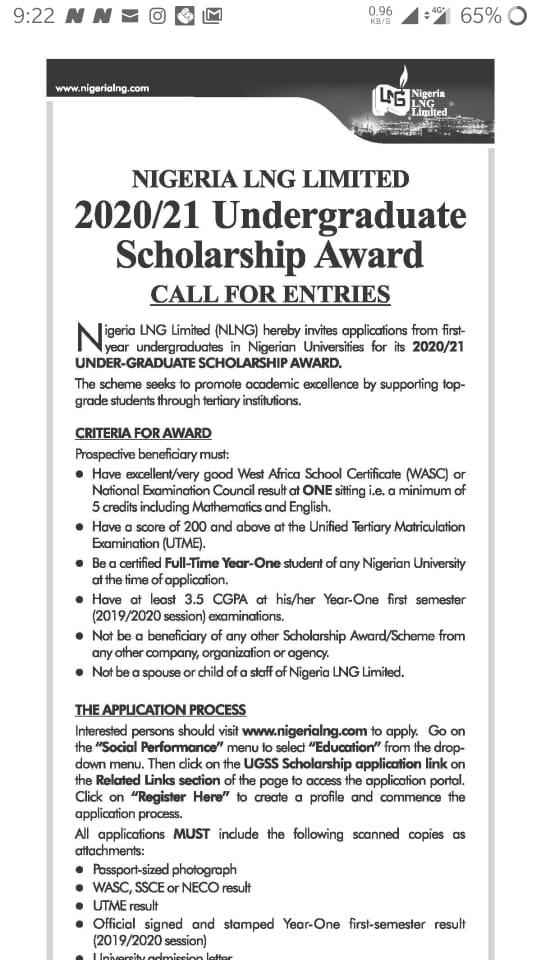 NLNG 2020/2021 Undergraduate Scholarship Award