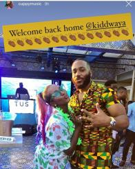 DJ Cuppy Welcomes Kiddwaya Back Home After he Was Evicted [Photos]