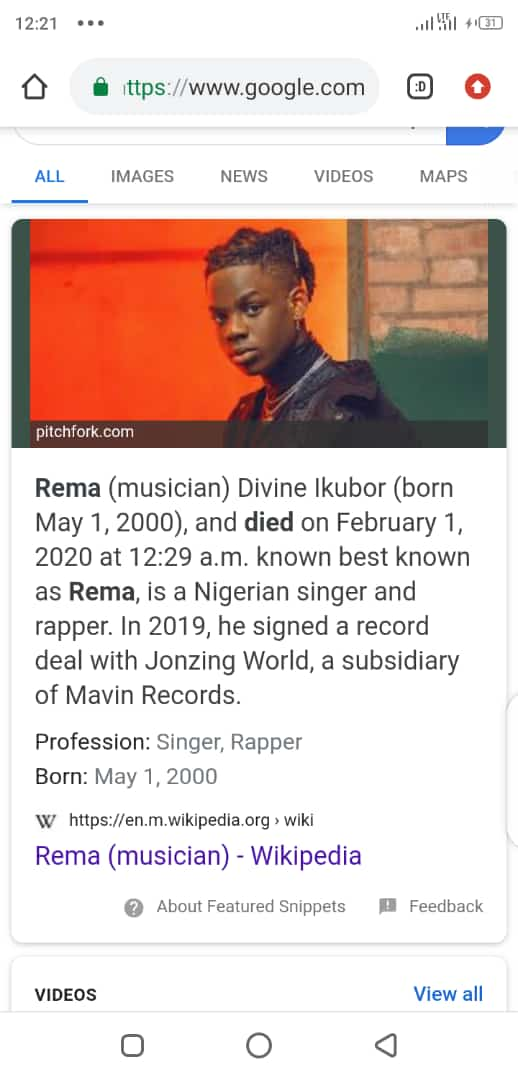Is Rema Dead? (See Proof on Wikipedia)