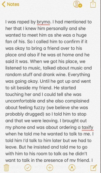 GOBE!! Lady Accuses Singer, Brymo Of Sexual Assault