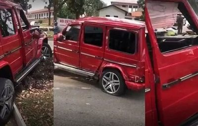 GBESE!! Man Crashes G-Wagon He Rented To Impress A Girl (Watch Video)