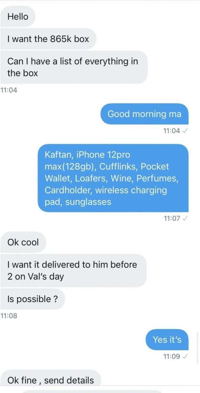 Can You Do This? Woman Buys N865k Valentine Box Containing iPhone 12, Other Gifts For Lover (Photo)