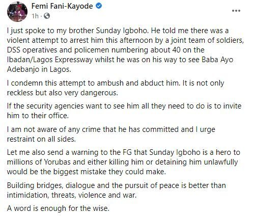 Femi Fani Kayode Places Serious Warning To Nigerian Government If They Arrest Sunday Igboho
