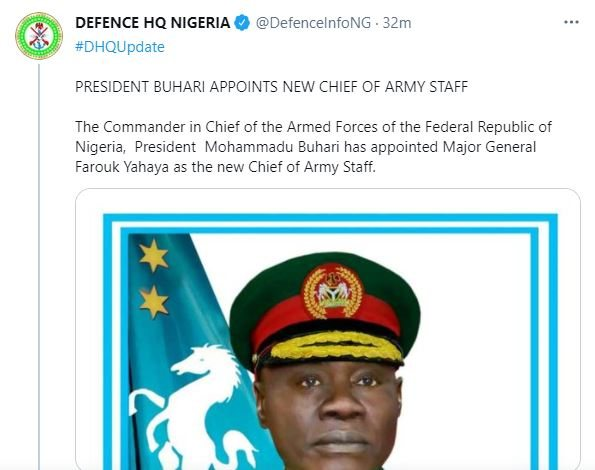 BREAKING!! Buhari Appoints Major-General Yahaya Farouk As New Chief Of Army Staff