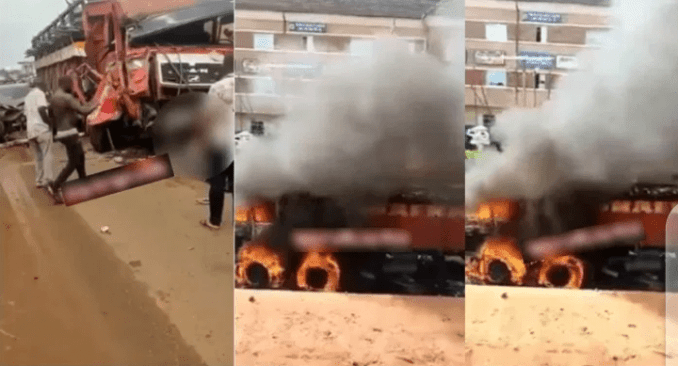 Youth set truck filled with loads of cows ablaze for destroying lives in Akwa Anambra