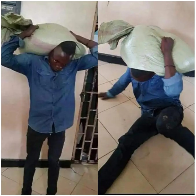 Drama as suspected thief willingly publish him self to the police custody after the bag he stole refused to stay his neck