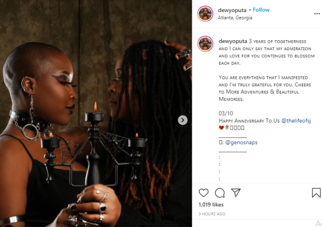Charly Boy's daughter, Dewy celebrates third anniversary with lesbian partner