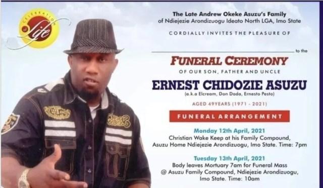 Families of Actor, Ernest Azuzu announces his burial date