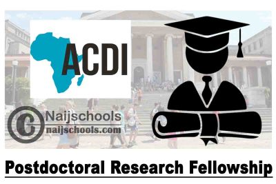 ACDI Postdoctoral Research Fellowship 2020/2021 At the University of Cape Town (up to Zar 330,000) | APPLY NOW