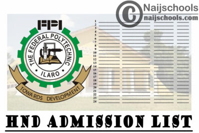 Federal Polytechnic Ilaro (ILAROPOLY) 1st & 2nd Batch HND Full-Time Admission List for 2020/2021 Academic Session | CHECK NOW