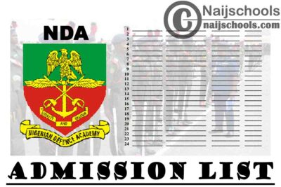 Nigerian Defence Academy (NDA) 72nd Regular Course Admission List for 2020/2021 Academic Session | CHECK NOW