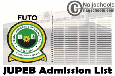 Federal University of Technology Owerri (FUTO) First & Second Batch JUPEB Admission List for 2020/2021 Academic Session | CHECK NOW
