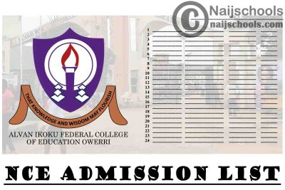 Alvan Ikoku Federal College of Education Owerri NCE Admission List for the 2020/2021 Academic Session   CHECK NOW
