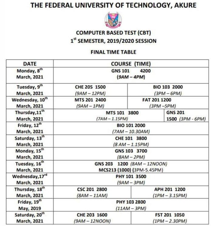 Federal University of Technology Akure (FUTA) 2019/2020 First Semester CBT Final Timetable 1