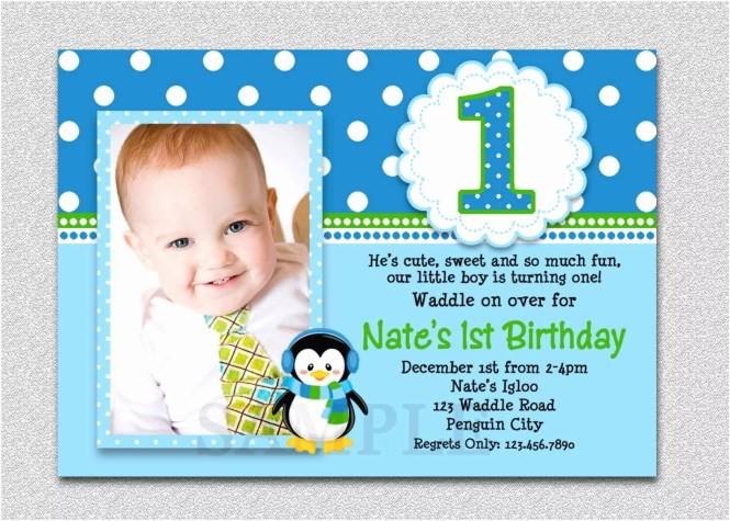 1st Birthday Invitations Boy Penguin