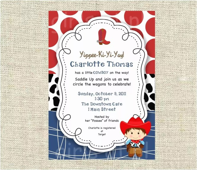 Cow Baby Shower Invitations Cowboy Thank