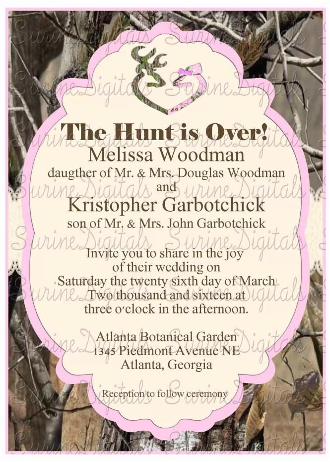 Pink Camouflage Wedding Invitations Orange Formal Camo
