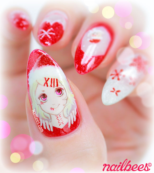 Tokyo Ghoul Christmas Nails