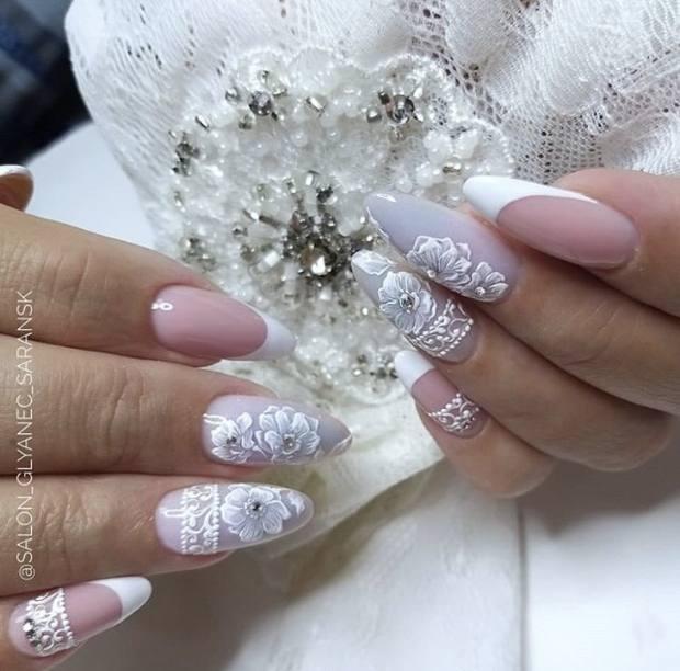 Свадебный маникюр для стильной невесты 2021 - 95