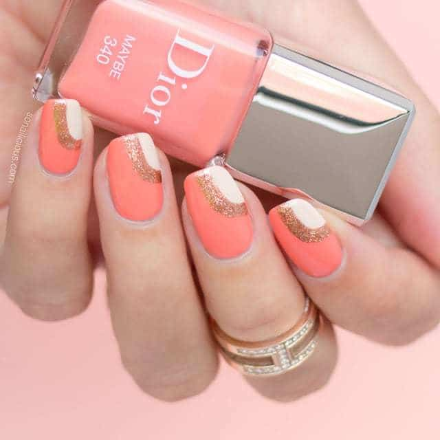 Peach And Golden Nail Design