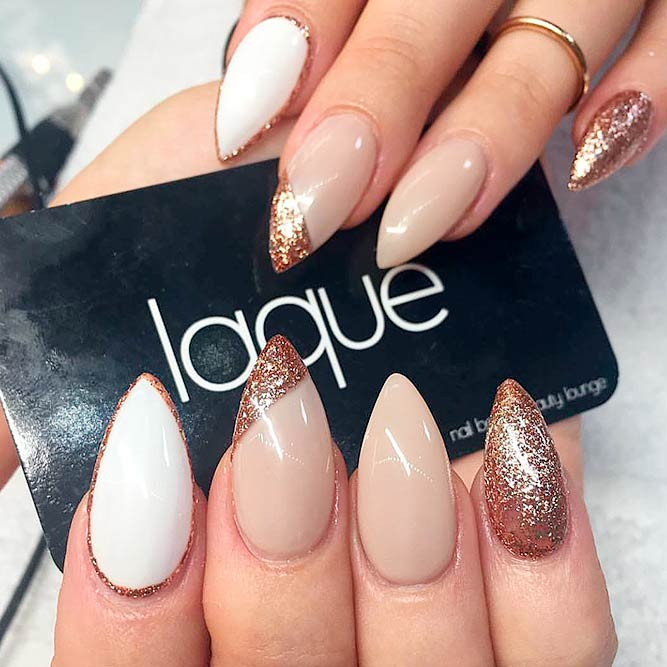 21 Ideas Of Gorgeous Combination Nude And Gold Nails Crazyforus