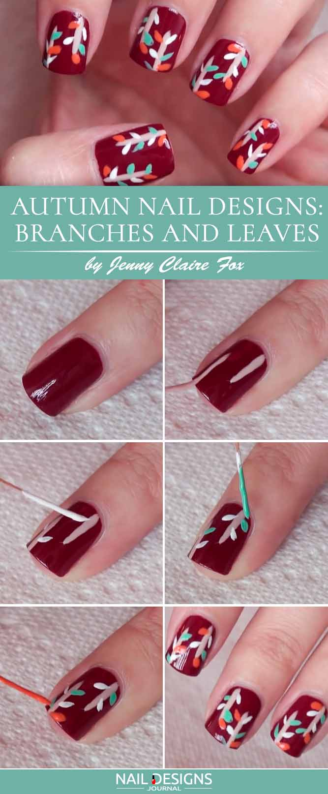 Autumn Nail Designs Branches And Leaves