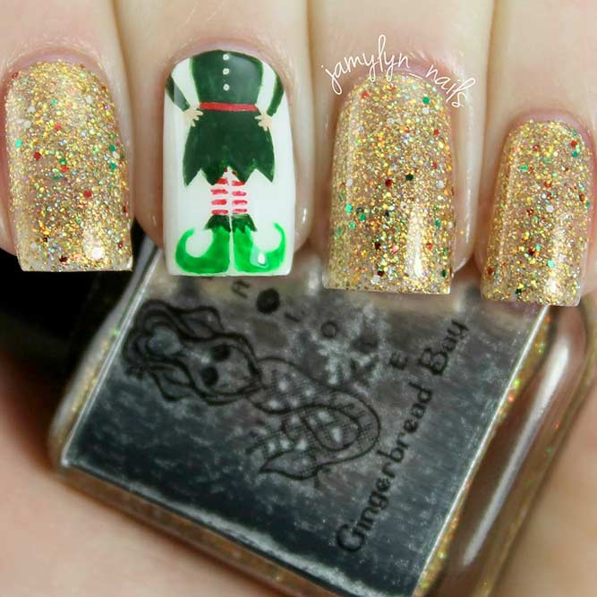 Holiday Nail Designs with Santa's Helpers