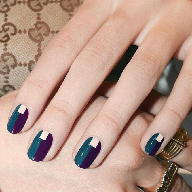 Fancy Nails With Brightly Color Blocking