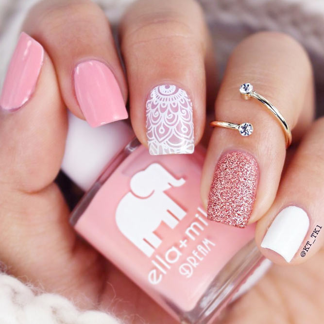 Laced Pink Nails Charming and Elegant picture 1 - 21 Pink Nails Designs To Look Romantic And Girly - Crazyforus