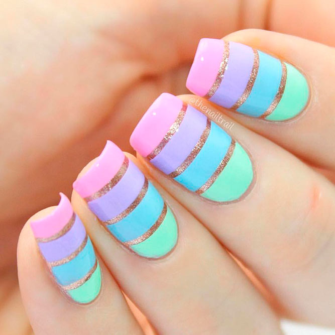 Striped Nail Designs With Rose Gold Accents picture 1