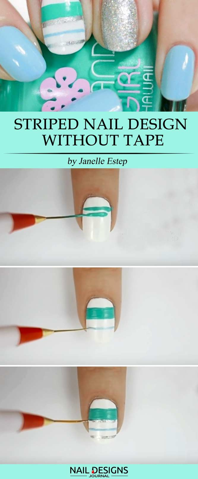 Striped nail design without the tape