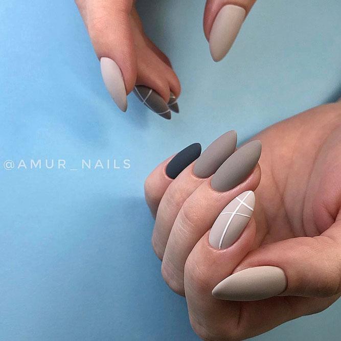 Matte Minimalistic Taupe Color Nails #longnails #mattenails # minimalisticnails