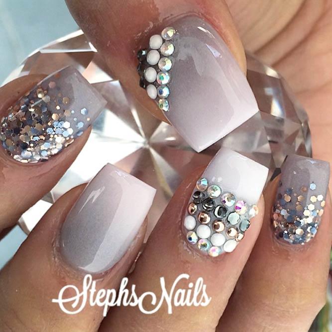 Fab Idea Taupe Ombre with Sparkle Elements #squarenails #glitternails #ombrenails # rhinestonesnails