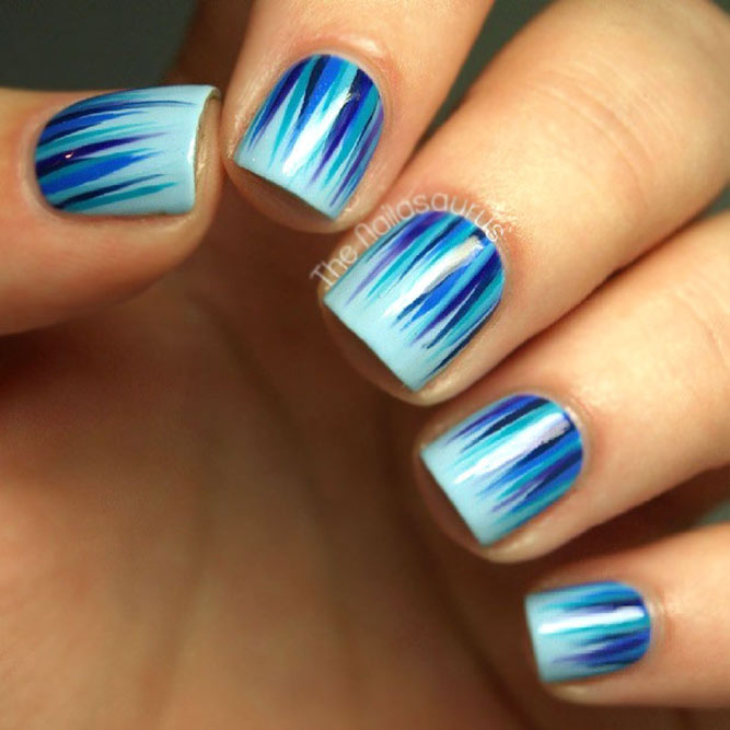Same Color Palette Waterfall Nail Art