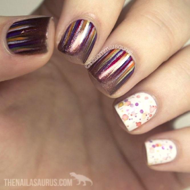 Bronze Glitter And White Color Accents