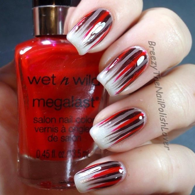 Red Accents For Waterfall Nails