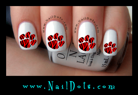 Red Tiger Paw Print Nail Decals