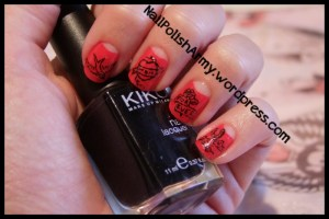 Retro vintage red and black old school tattoos rockabilly pinup freehand nail art