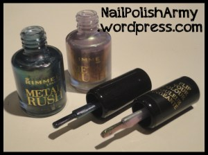 Rimmel London Metal Rush 60 royal-blue, 100 pearly queen, iridescente duochrome