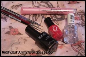 What I used: Kiko 275 black, Orly Monroe's Red, Rimmel London 5 in 1, Essence nail polish corrector pencil, nail art brushes