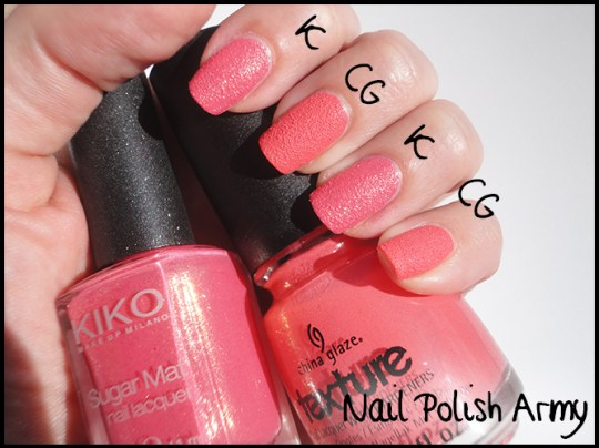 China-Glaze-texture-Itty-bitty-and-gritty-swatch-and-Kiko-sugar-mat-641-rosa-fragola-strawberry-pink