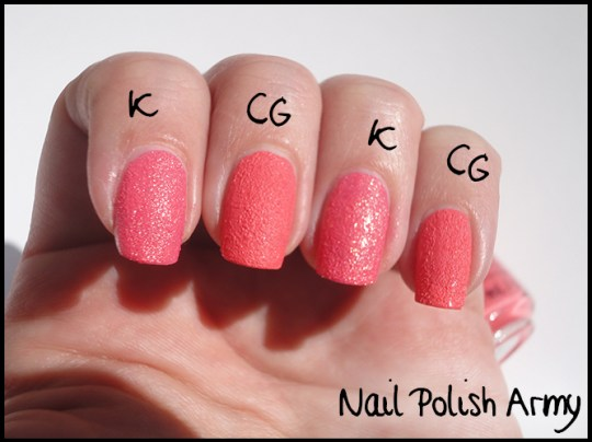 China-Glaze-texture-Itty-bitty-and-gritty-swatch-vs-Kiko-sugar-mat-641-rosa-fragola